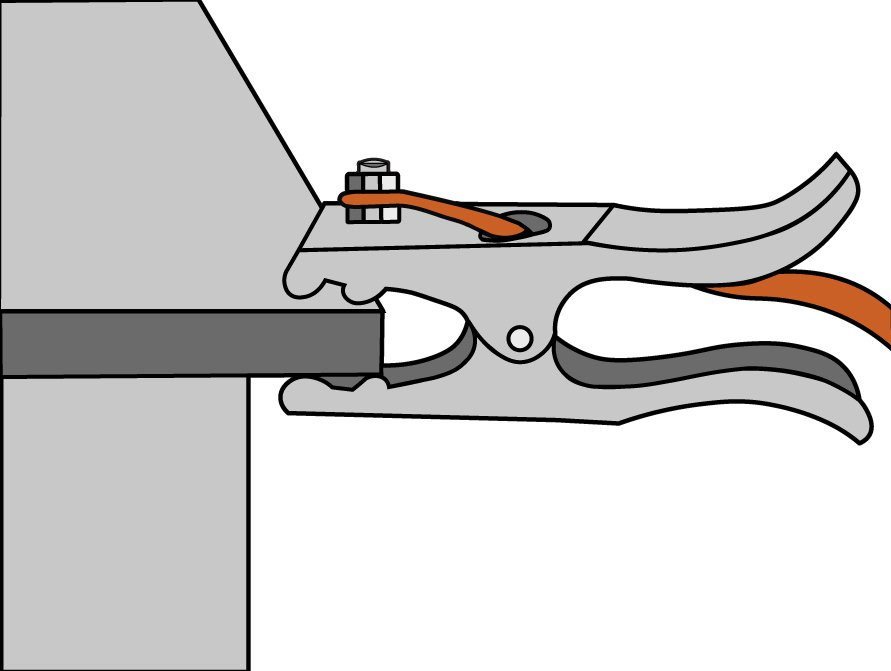 Work Clamp Attached to Workpiece